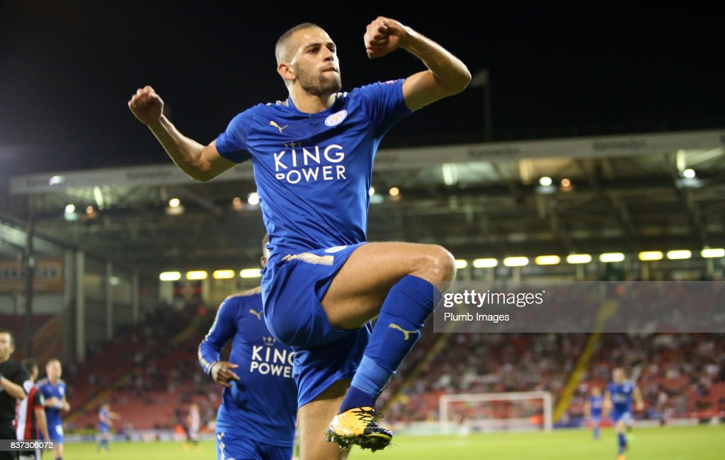 Islam Slimani of Leicester City celebrates after scoring to make it 0-2 during the Carabao Cup Second Round tie between Sheffield United and Leicester City at Bramall Lane on August 22nd, 2017 in Sheffield, United Kingdom