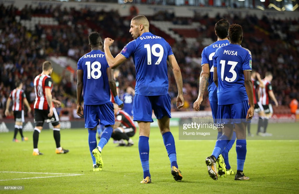 Islam Slimani of Leicester City celebrates after scoring to make it 0-3 during the Carabao Cup Second Round tie between Sheffield United and Leicester City at Bramall Lane on August 22nd, 2017 in Sheffield, United Kingdom