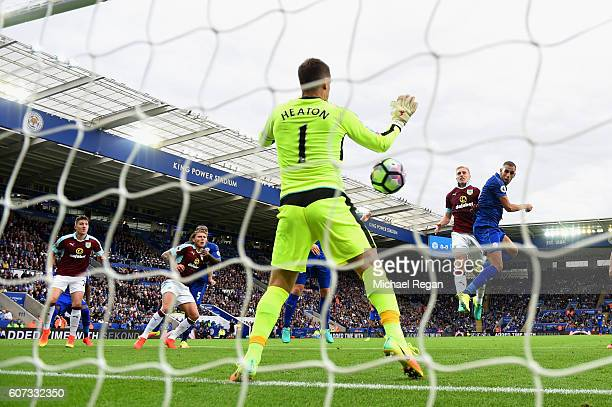 Islam Slimani of Leicester City celebrates scores his sides first goal during the Premier League match between Leicester City and Burnley at The King...