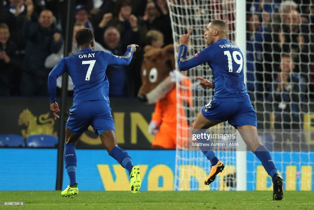 Islam Slimani of Leicester City celebrates scoring a goal to make the score 2-0 during the Carabao Cup third round match between Leicester City and Liverpool at The King Power Stadium on September 19, 2017 in Leicester, England.