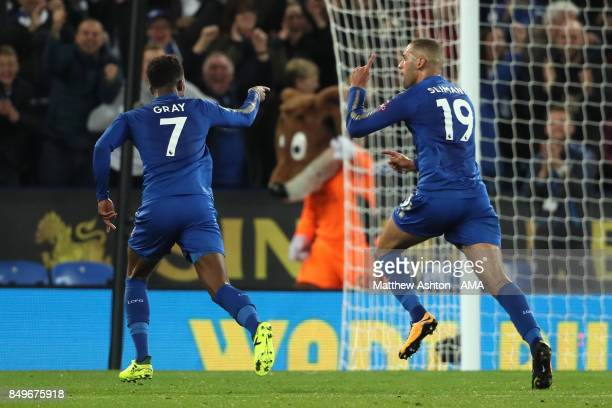 Islam Slimani of Leicester City celebrates scoring a goal to make the score 20 during the Carabao Cup third round match between Leicester City and...