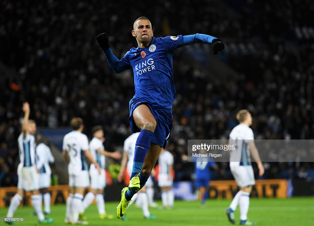 Islam Slimani of Leicester City celebrates scoring his sides first goal during the Premier League match between Leicester City and West Bromwich Albion at The King Power Stadium on November 6, 2016 in Leicester, England.