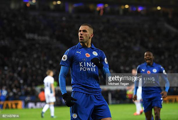 Islam Slimani of Leicester City celebrates scoring his sides first goal during the Premier League match between Leicester City and West Bromwich...