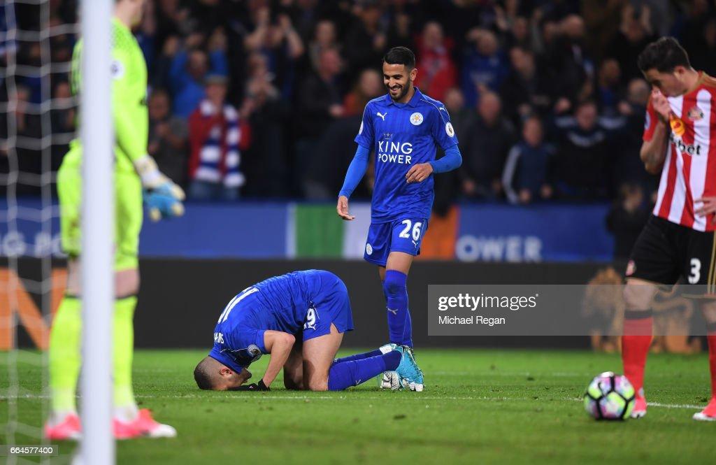 Islam Slimani of Leicester City celebrates scoring his sides first goal during the Premier League match between Leicester City and Sunderland at The King Power Stadium on April 4, 2017 in Leicester, England.