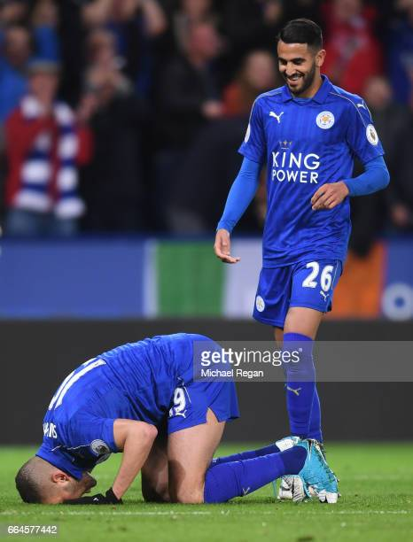 Islam Slimani of Leicester City celebrates scoring his sides first goal during the Premier League match between Leicester City and Sunderland at The...