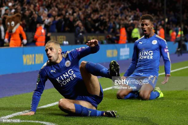 Islam Slimani of Leicester City celebrates scoring his sides second goal with Demarai Gray of Leicester City during the Carabao Cup Third Round match...