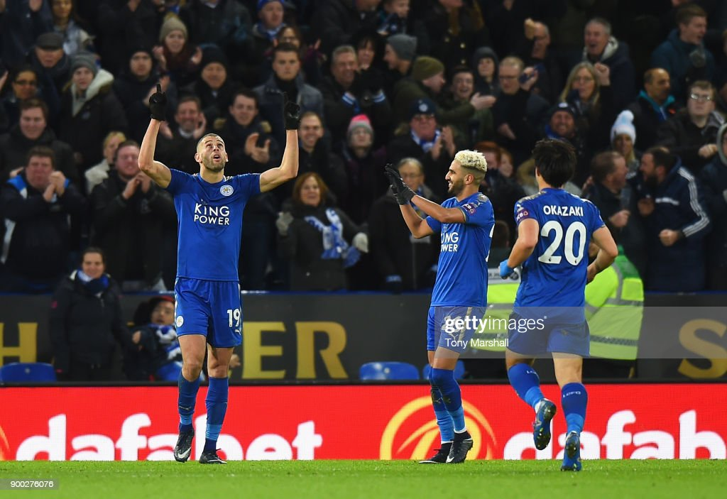 Islam Slimani of Leicester City celebrates scoring his team's second goal during the Premier League match between Leicester City and Huddersfield Town at The King Power Stadium on January 1, 2018 in Leicester, England.