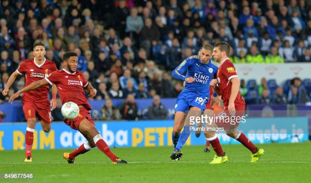 Islam Slimani of Leicester City curls the ball into the back of the net to make it 20 during the Carabao Cup third round match between Leicester City...