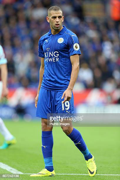 Islam Slimani of Leicester City during the Premier League match between Leicester City and Burnley at the King Power Stadium on September 17th 2016...