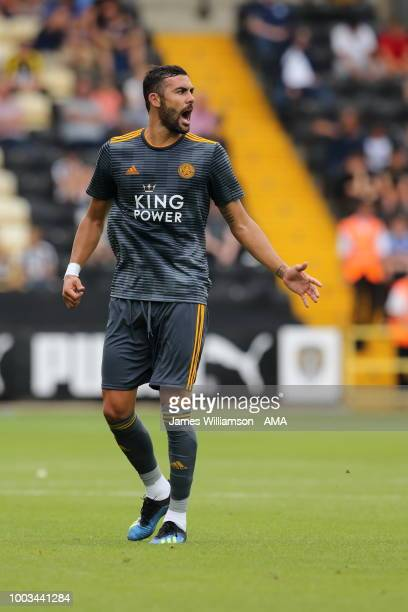 Islam Slimani of Leicester City during the preseason match between Notts County and Leicester City at Meadow Lane on July 21 2018 in Nottingham...