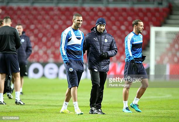 Islam Slimani of Leicester City during the training session at Telia Parken Stadium ahead of the Champions League match between FC Copenhagen and...