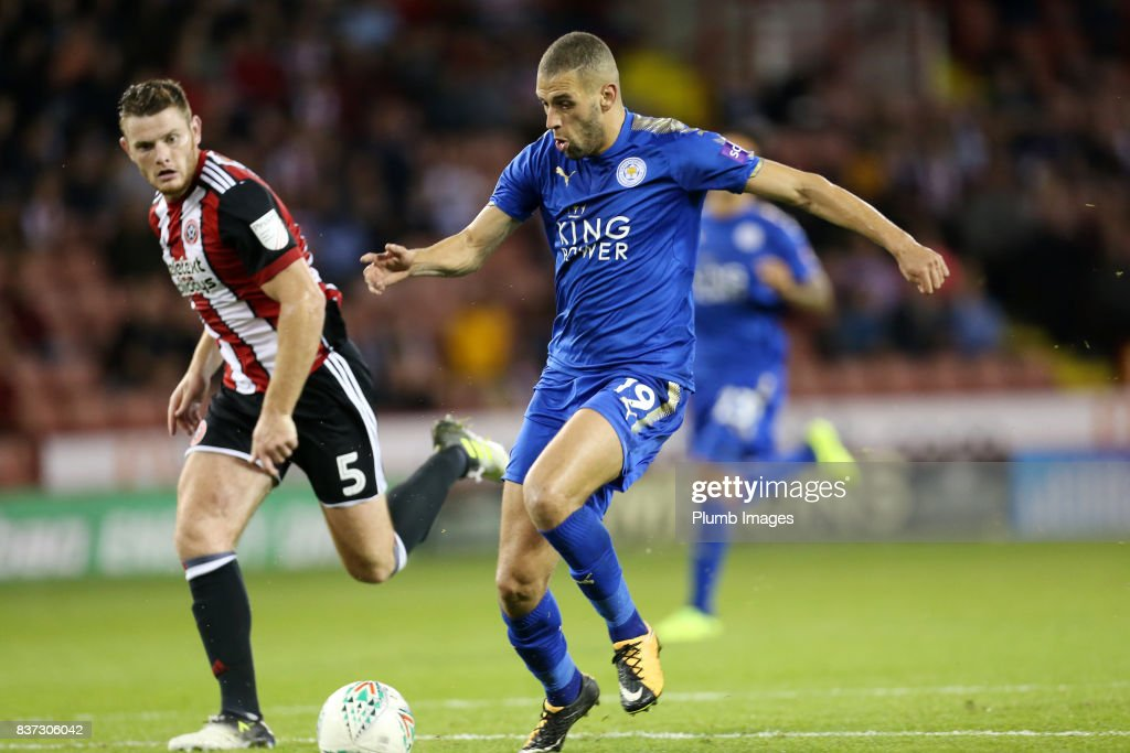 Islam Slimani of Leicester City in action during the Carabao Cup Second Round tie between Sheffield United and Leicester City at Bramall Lane on August 22nd, 2017 in Sheffield, United Kingdom