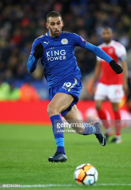 Islam Slimani of Leicester City in action during the Emirates FA Cup third round replay match between Leicester City and Fleetwood Town at The King...