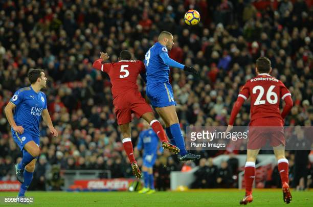 Islam Slimani of Leicester City in action with Georginio Wijnaldum of Liverpool during the Premier League match between Liverpool and Leicester City...