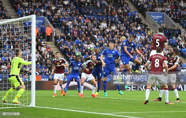 Islam Slimani of Leicester City scores his sides first goal during the Premier League match between Leicester City and Burnley at The King Power...