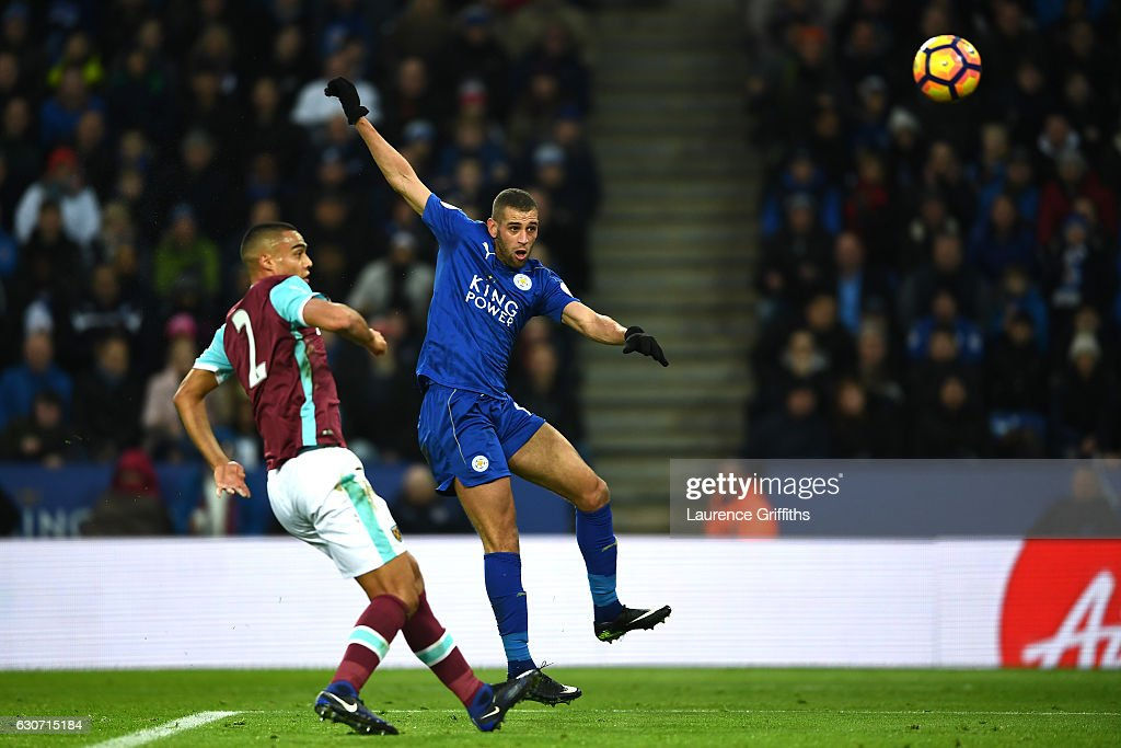 Islam Slimani of Leicester City scores his sides first goal during the Premier League match between Leicester City and West Ham United at The King Power Stadium on December 31, 2016 in Leicester, England.