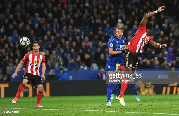 Islam Slimani of Leicester City scores his sides first goal during the Premier League match between Leicester City and Sunderland at The King Power...