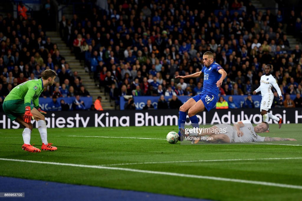 Islam Slimani of Leicester City scores his sides second goal during the Caraboa Cup Fourth Round match between Leicester City and Leeds United at The King Power Stadium on October 24, 2017 in Leicester, England.