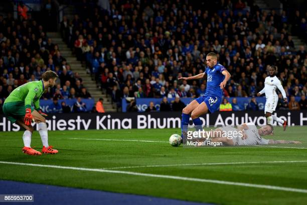 Islam Slimani of Leicester City scores his sides second goal during the Caraboa Cup Fourth Round match between Leicester City and Leeds United at The...