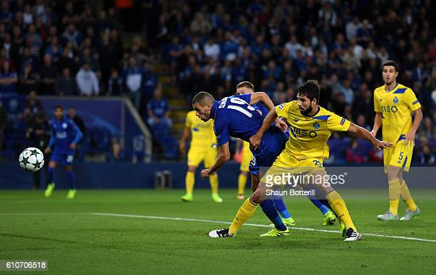 Islam Slimani of Leicester City scores their first goal during the UEFA Champions League Group G match between Leicester City FC and FC Porto at The...
