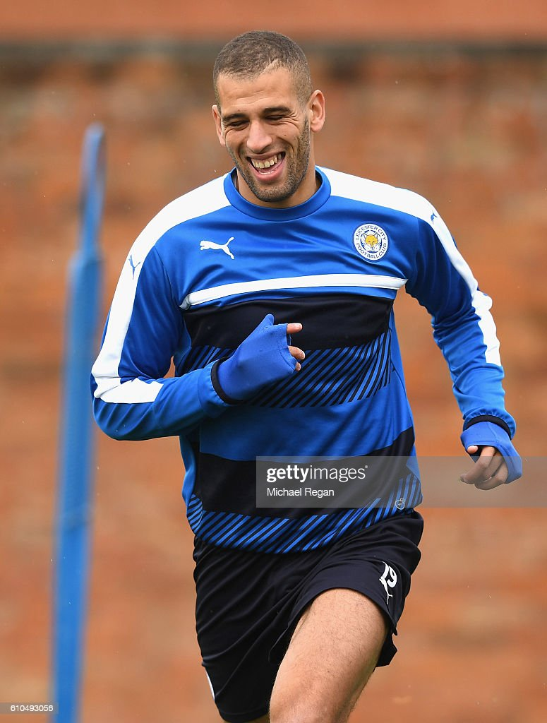 Islam Slimani of Leicester City warms up during a Leicester City training session ahead of their Champions League match against FC Porto at Belvoir Drive Training Ground on September 26, 2016 in Leicester, England.