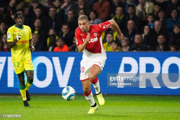 Islam SLIMANI of Monaco during the Ligue 1 match between Nantes and Monaco at Stade de la Beaujoire on October 25, 2019 in Nantes, France.