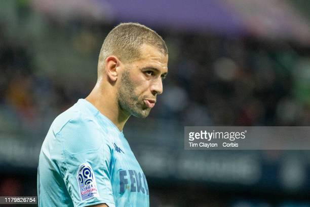 Islam Slimani of Monaco during the Montpellier V Monaco French Ligue 1 regular season match at Stade de la Mosson on October 5th 2019 in Montpellier...