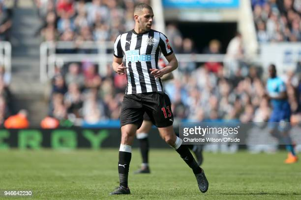 Islam Slimani of Newcastle during the Premier League match between Newcastle United and Arsenal at St James Park on April 15 2018 in Newcastle upon...