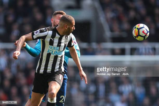 Islam Slimani of Newcastle United during the Premier League match between Newcastle United and Arsenal at St James Park on April 15 2018 in Newcastle...