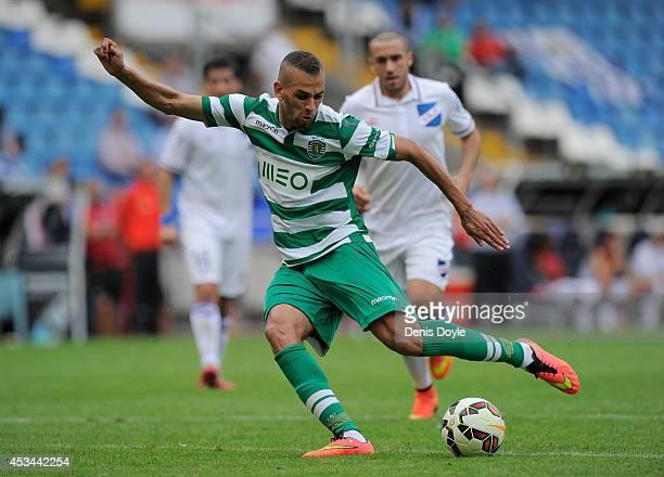 Islam Slimani of Sporting Clube de Portugal in action during the Teresa Herrera Trophy match between Sporting Clube de Portugal and Club Nacional de...