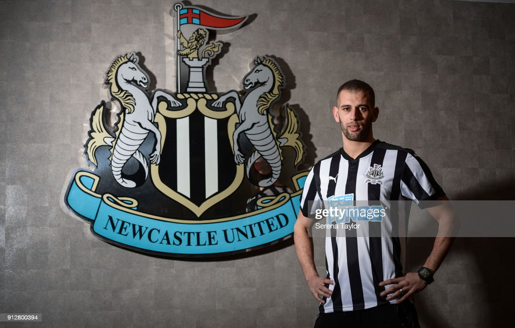 Islam Slimani poses for photographs during a photoshoot at St.James' Park on January 31, 2018, in Newcastle, England.