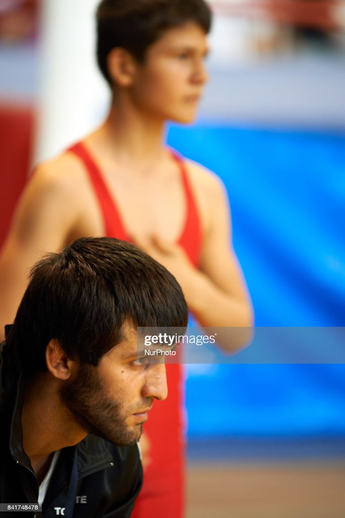 Islam, the trainor of the TOAC Wrestling Club is waiting for the last fight of the yougest member of the club during the FSGT World Championship. On 1st September 2017 in Clermond-Ferrand, France.