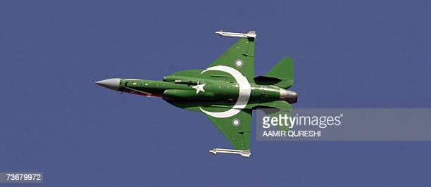 A newly manufactured multiroll light weight fighter aircraft the JF17 Thunder built by Pakistan with the assistance of China is painted with the...