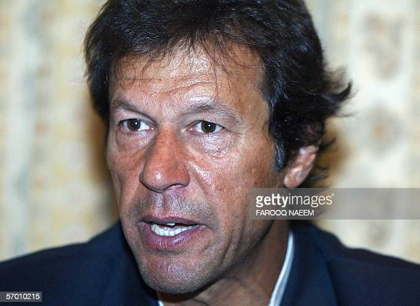 Pakistani cricket playerturned politician Imran Khan speaks during a press conference held at his party office in Islamabad 06 March 2006 Khan...