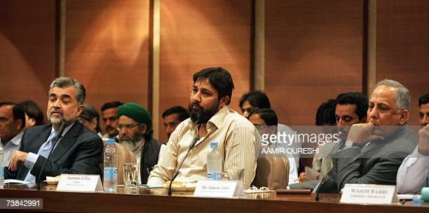 Pakistani cricket team captain InzamamulHaq Chairman Pakistan Cricket Board Nasim Ashraf and former director cricket operations Salim Altaf appear at...