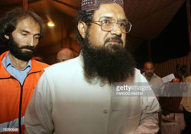 Pakistani former jihadi commander and commander of the banned Harkatul Ansar group Fazlur Rehman Khalil arrives after holding talks with radical...
