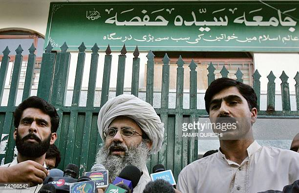 Pakistani Islamic radical deputy leader of the Red Mosque Abdul Rashid Ghazi talks to media representatives after the release of two policemen...