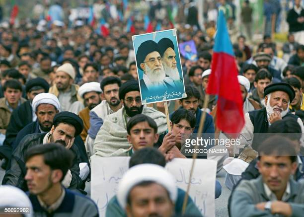 Pakistani Shiite Muslims gather during a demonstration in Islamabad, 28 January 2006. They were demanding the release of Shiite cleric Agha Rahat...