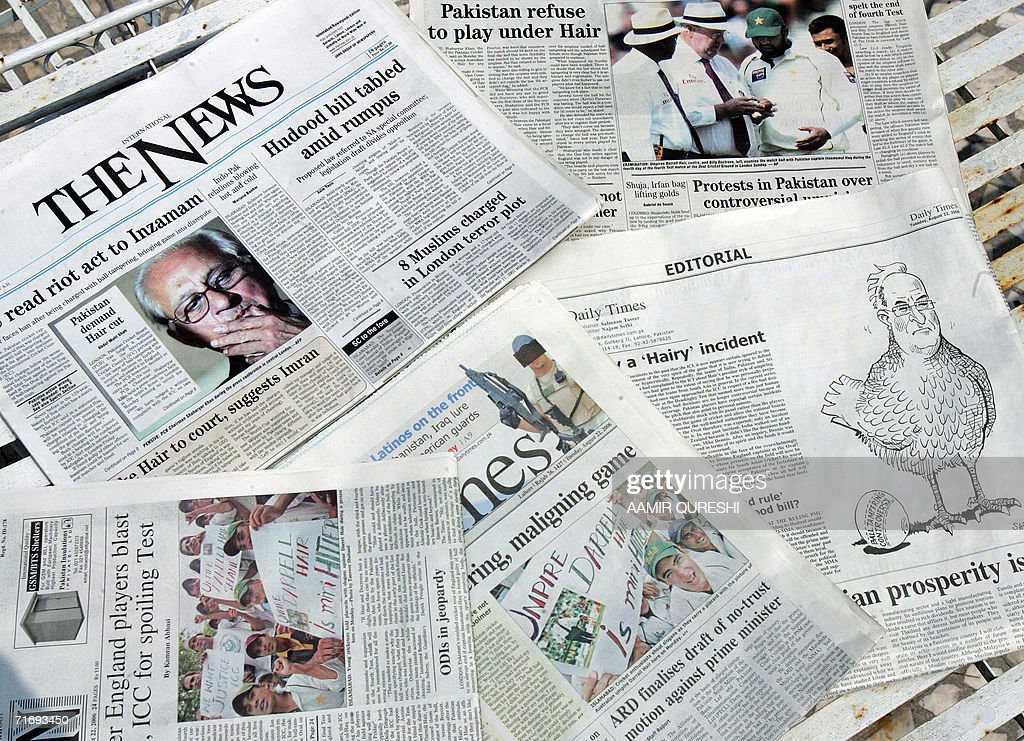 This mosaic shows Pakistan's leading newspapers featuring news and