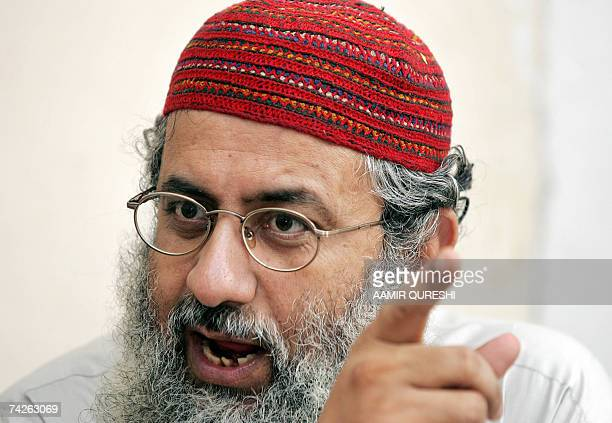 TO GO WITH STORY 'PAKISTANPOLITICSMOSQUESCHED' Pakistani deputy leader of Red Mosque Abdul Rashid Ghazi gestures as he speaks during an interview...