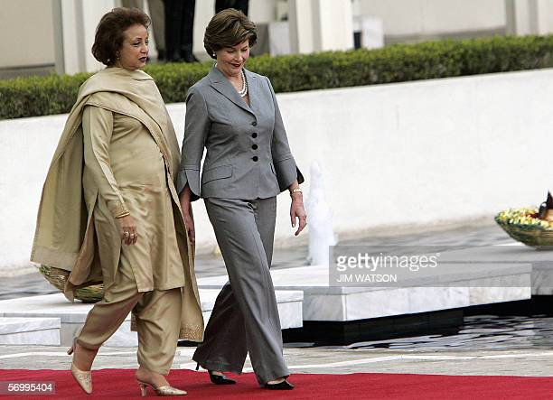 US First Lady Laura Bush and Sehba Musharraf arrive for President George W Bush and Pakistani President Pervez Musharraf's joint press conference at...