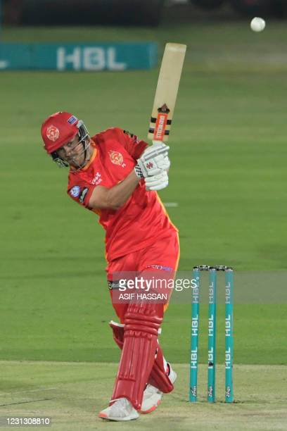 Islamabad United batsman Phil Salt plays a shot during the Pakistan Super League T20 cricket match between Islamabad United and Multan Sultan at the...