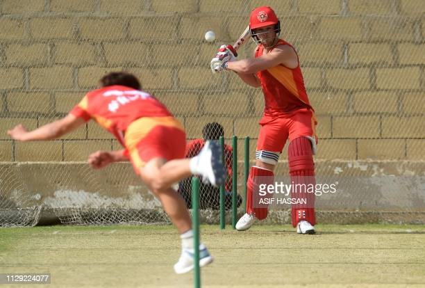 Islamabad United cricketer Phil Salt bats during a training session at the National Cricket Stadium in Karachi on March 8 2019 Cricketmad Pakistan is...
