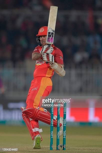 Islamabad United Luke Ronchi plays a shot during the Pakistan Super League T20 cricket match between Islamabad United and Karachi Kings at the...