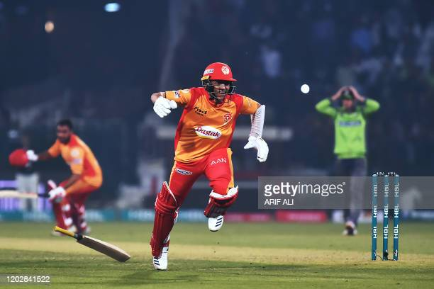 Islamabad United Muhammad Musa attempts to make his ground during the Pakistan Super League T20 cricket match between Islamabad United and Lahore...