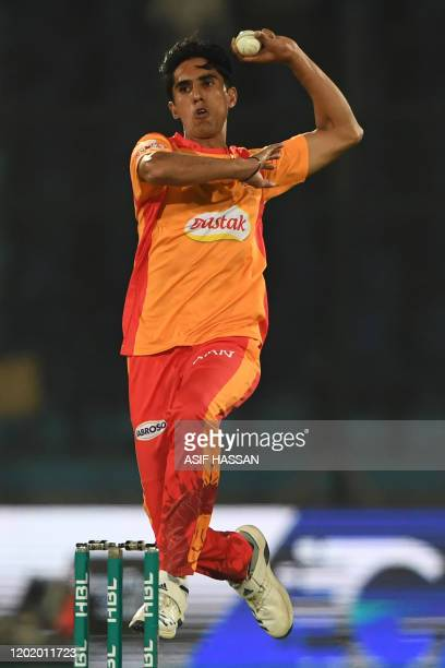 Islamabad United's Akif Javed delivers the ball during the Pakistan Super League Twenty20 cricket match between Quetta Gladiators and Islamabad...