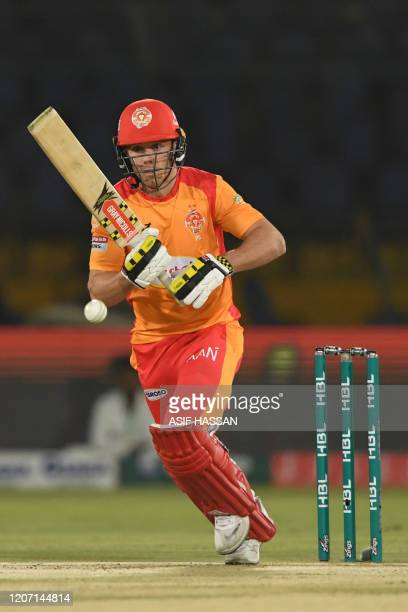 Islamabad United's Phil Salt plays a shot during the T20 cricket match between Karachi Kings and Islamabad United at the National Cricket Stadium in...