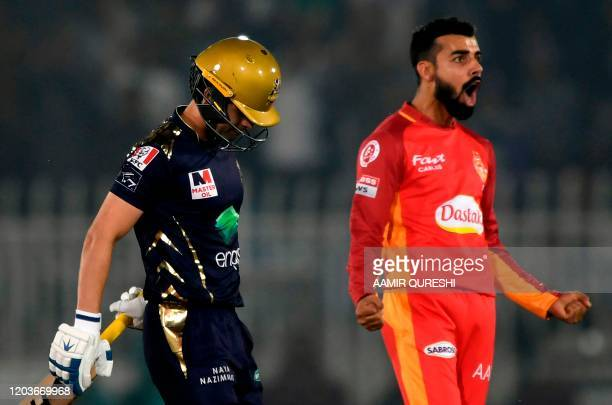 Islamabad United's Shadab Khan celebrates after the dismissal of Quetta Gladiators's Ahmed Shehzad during the Pakistan Super League Twenty20 cricket...