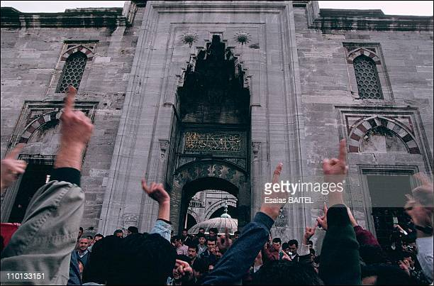 Islamic activists demo in Istanbul Turkey in October 1995