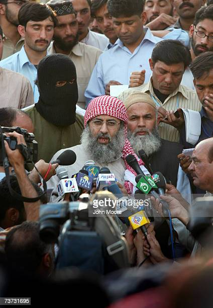 Islamic cleric Abdul Rashid Ghazi holds a news conference at the Lal Mosque madrassa where students are holding three women and two policemen hostage...